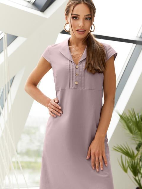 """Приталенное платье фиолетового цвета из льна с рукавом """"крылышко"""" 54509, фото 1"""