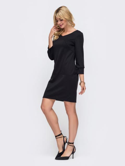 Черное платье прямого кроя с рукавом 3/4 50328, фото 1