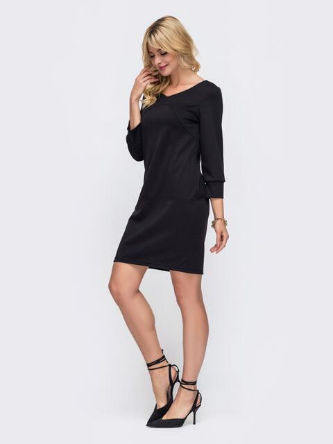 Черное платье с рукавом 3/4 50328, фото 1