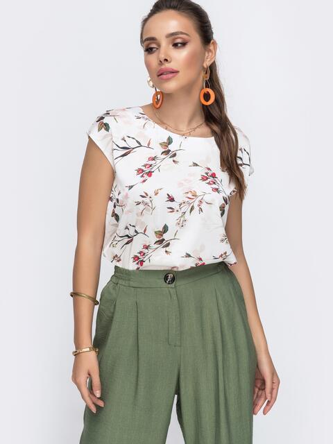 Шелковая блузка белого цвета с принтом 49118, фото 1