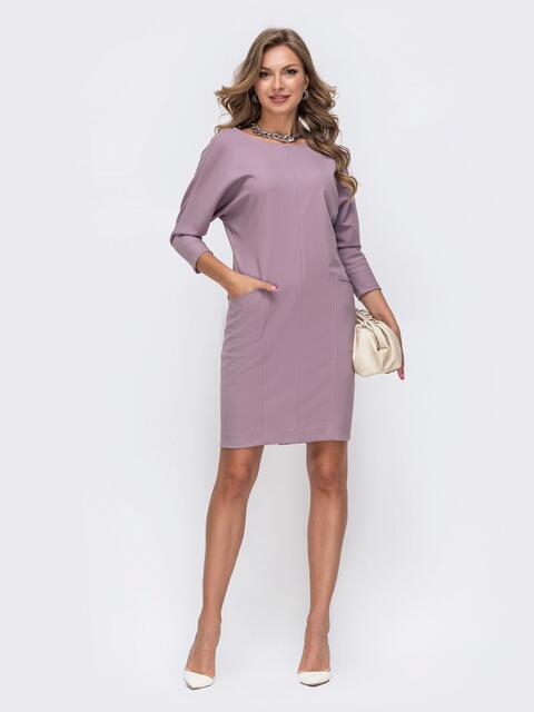 Сиреневое платье с цельнокроеным рукавом и карманами по полочке 50326, фото 1