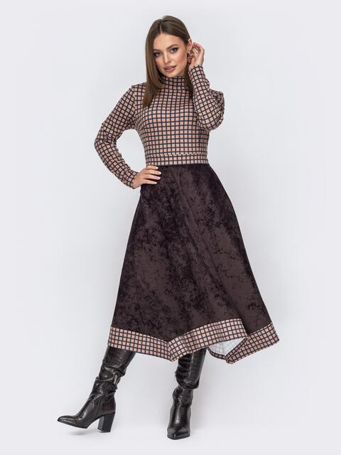 Комбинированное платье в клетку с асимметричной юбкой коричневое 52543, фото 1