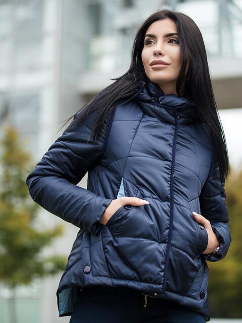 Куртка из водонепроницаемой ткани тёмно-синяя 22739, фото 1
