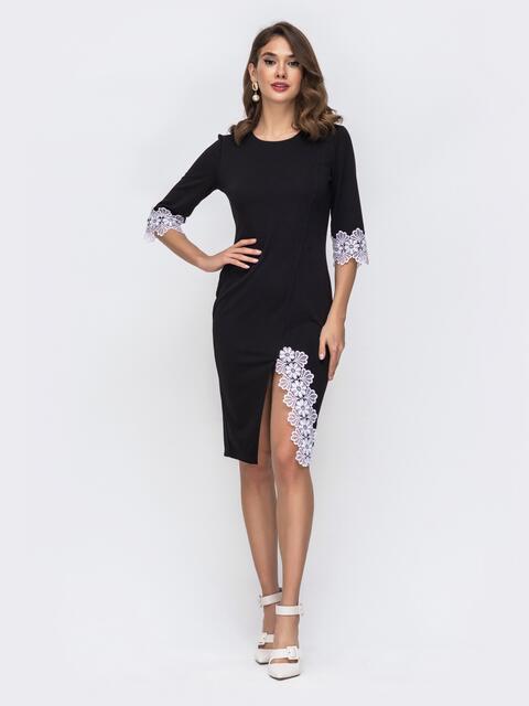 Платье с кружевом на манжете чёрное 42732, фото 1