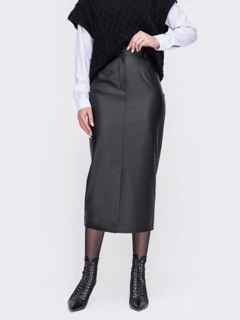 Черная юбка-карандаш из эко-кожи 52676, фото 1