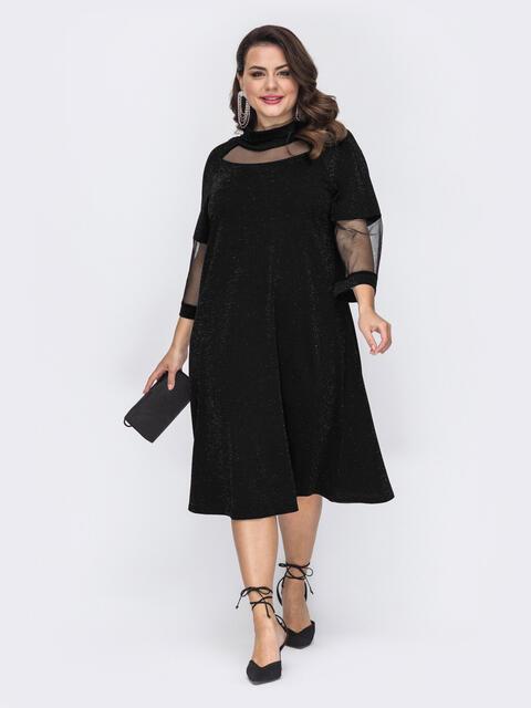 Чёрное платье-трапеция большого размера с люрексом 52131, фото 1