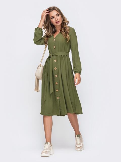 Платье-миди  цвета хаки на пуговицах по всей длине 50365, фото 1