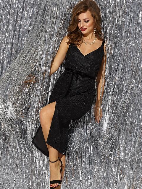 Платье на запах из люрекса с бархатными бретелями чёрное 42684, фото 1