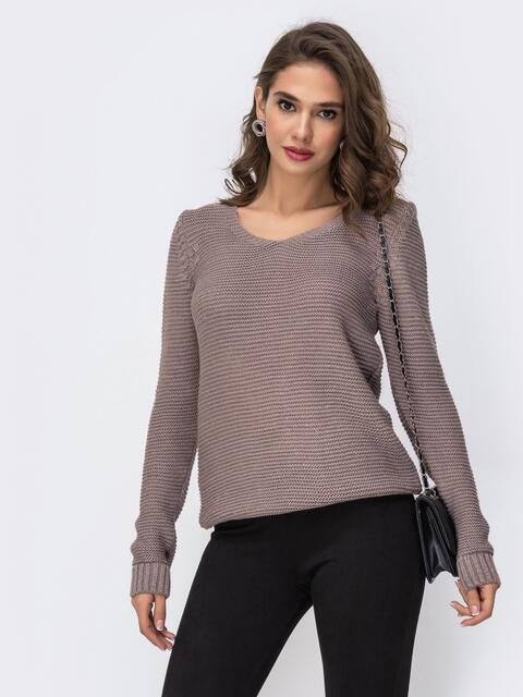 Серый свитер с люрексовой нитью и V-вырезом 42399, фото 1