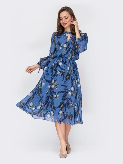 Шифоновое платье-миди голубого цвета с вырезом «капля» 53077, фото 1