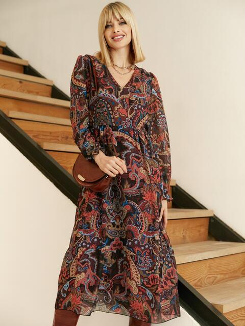 Шифоновое платье с принтом и воланом по низу бордовое 53079, фото 1