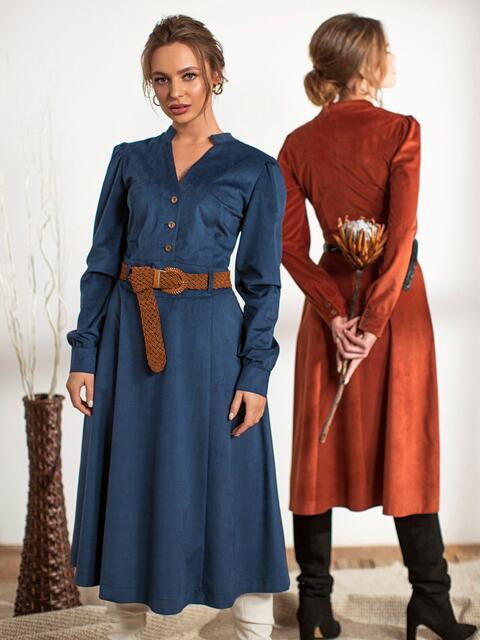 Тёмно-синее платье с воротником-стойкой 44238, фото 1