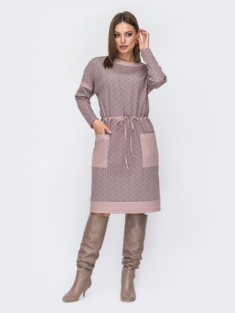 Бежевое платье с принтом и кулиской по талии 52537, фото 1