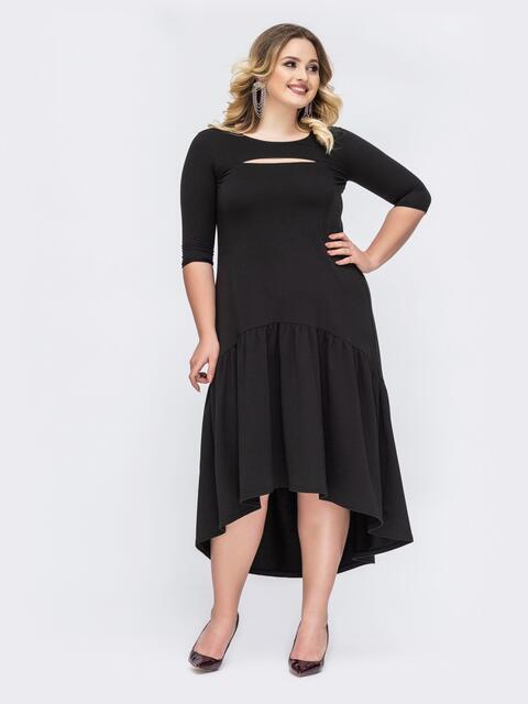 Чёрное платье батал А-силуэта с удлиненной спинкой 43725, фото 1