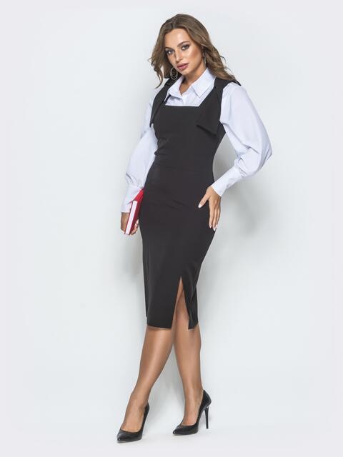 Чёрное платье-футляр с квадратным вырезом горловины 39916, фото 1