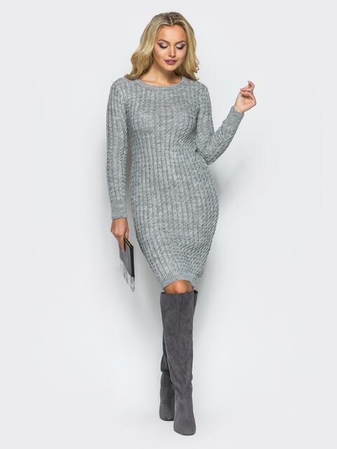 Серое платье крупной ажурной вязки 15970, фото 1