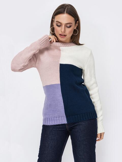 Фиолетовый свитер прямого кроя в стиле color block 52748, фото 1