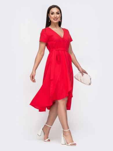Красное платье на запах большого размера 46350, фото 2