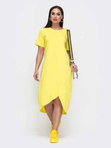 Платье-футболка большого размера с удлиненной спинкой желтое 46332, фото 1