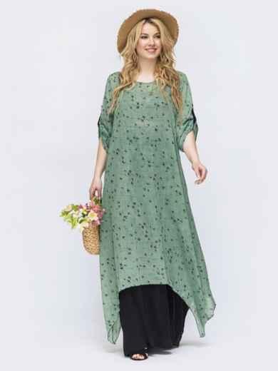 Зеленое платье свободного кроя батал 46079, фото 1