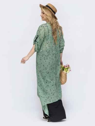 Зеленое платье свободного кроя батал 46079, фото 2