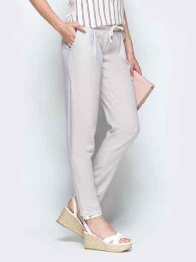 Бежевые брюки из льна с резинкой по талии 39403, фото 2