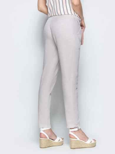 Бежевые брюки из льна с резинкой по талии 39403, фото 3