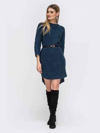 Платье с удлиненной спинкой тёмно-синее 43128, фото 1