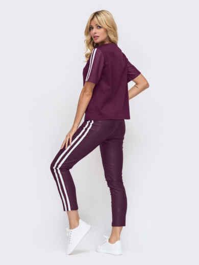 Бордовый комплект в спортивном стиле с брюками из искусственной кожи  51131, фото 2