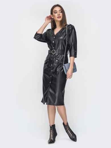 Чёрное платье из эко-кожи с накладными карманами 44950, фото 2