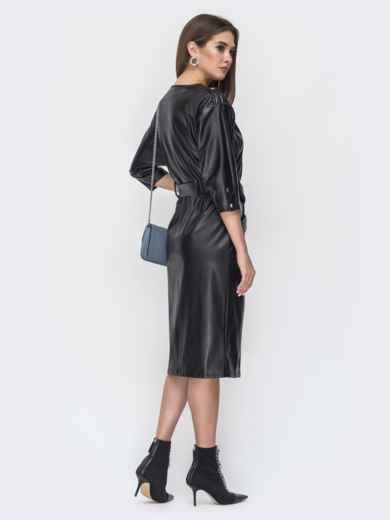 Чёрное платье из эко-кожи с накладными карманами 44950, фото 3