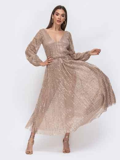 Платье из люрекса с пайетками и вырезом по спинке бежевое 43003, фото 1