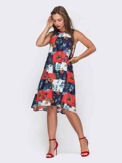 Шифоновое платье-трапеция с принтом тёмно-синее 49093, фото 1