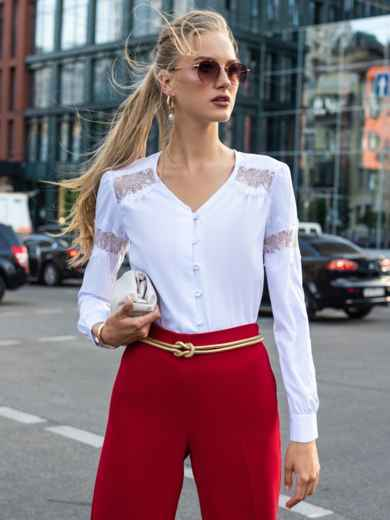 Белая блузка из софта с кружевными вставками 49763, фото 1