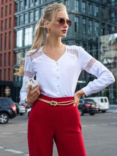 Белая блузка из софта с кружевными вставками 49763, фото 2