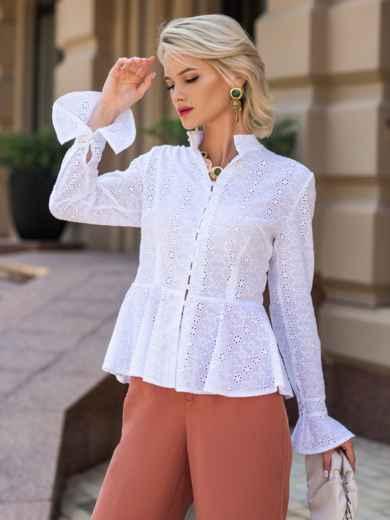 Блузка из прошвы с баской и воротником-стойкой белая 49759, фото 2