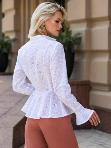 Блузка из прошвы с баской и воротником-стойкой белая 49759, фото 3