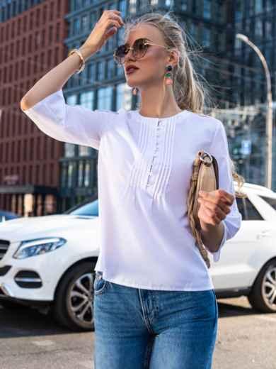 Хлопковая блузка прямого кроя белая 49761, фото 1