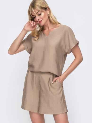 Комплект бежевого цвета из свободной блузки и шорт 49137, фото 2
