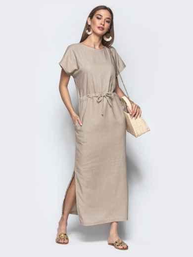 Льняное платье бежевого цвета с кулиской по талии 21897, фото 1