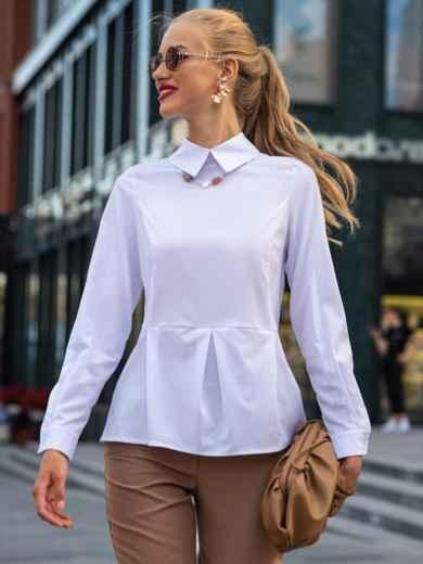 Приталенная блузка из софта с баской белая 49766, фото 1