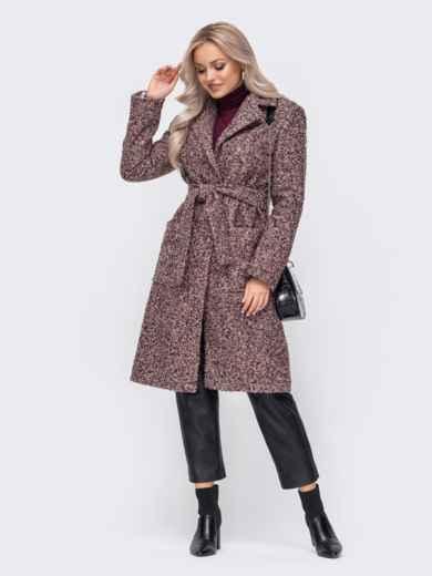 Приталенное пальто из букле розовое 50855, фото 2