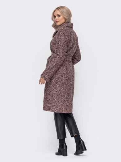 Приталенное пальто из букле розовое 50855, фото 3