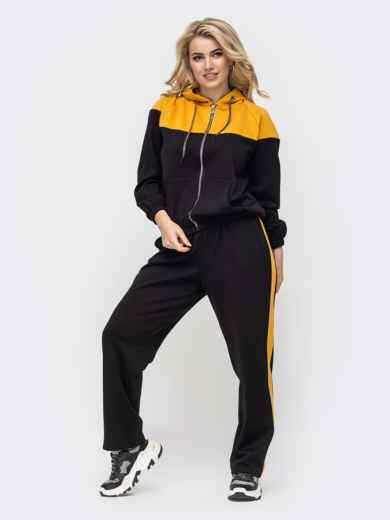 Спортивный костюм батал из кофты с желтыми вставками и брюк 50916, фото 1