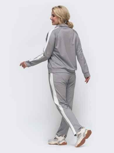 Спортивный костюм большого размера с брюками серый 50918, фото 2