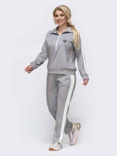 Спортивный костюм большого размера с брюками серый 50918, фото 3