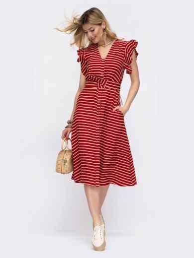 """Терракотовое платье в полоску с рукавом """"крылышко"""" 48042, фото 1"""