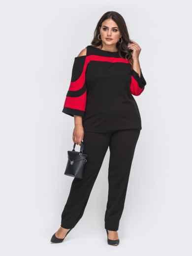 Брючный костюм большого размера с блузкой красный 50732, фото 1