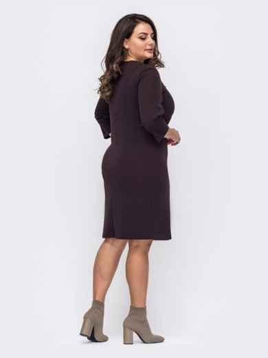 Коричневое платье большого размера со вставкой из эко-кожи 51265, фото 2