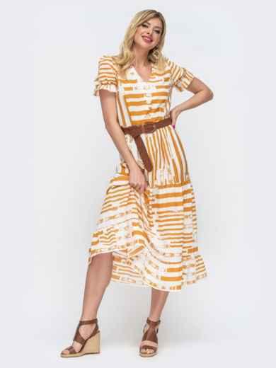 """Платье в желтую полоску с пуговицам и рукавом """"фонарик"""" 46842, фото 1"""